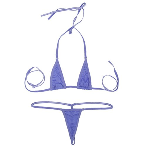 f5e329e573 iEFiEL Women Micro G-String Bikini 2 Piece Sliding Top Thong Small Bra