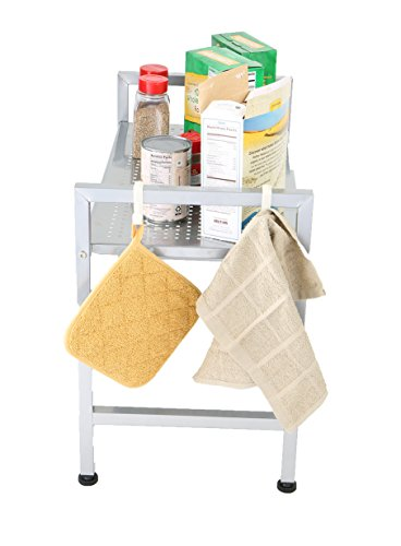 Mind Reader Microwave Oven Rack Shelf Unit with 2 Hooks for Kitchen Utensils, Towels and More