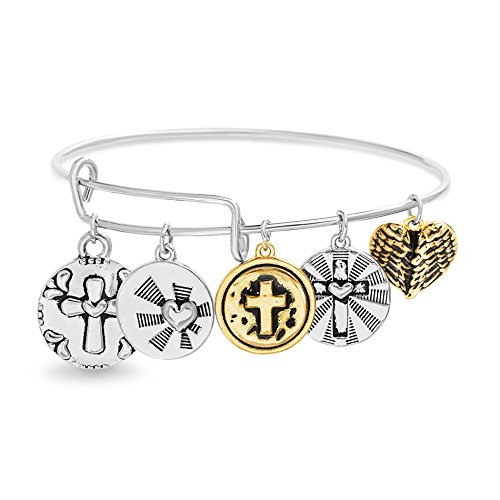 - Willowbird Women's Multi Cross and Textured Heart Disc Charm Bangle Bracelet in Two-Tone Plated Brass