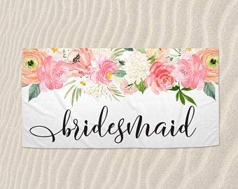 Custom Beach Towel, Personalized Bridesmaid Gift, Batchelorette Beach Towels