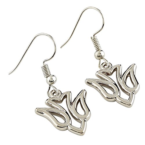 Price comparison product image Girl's Catholic Religious Confirmation Silver Toned Hanging Earrings