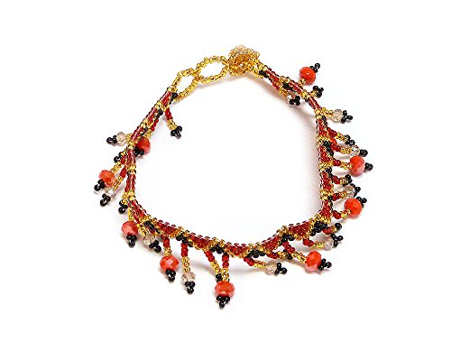 Seed Bead Crystal Fringe Anklet (Black/Red/Gold) Diamond Cut Bead Fringe