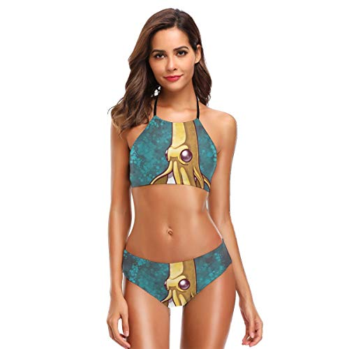 Women's High Neck Banana Octpus Under The Sea Jungle Print Two Piece Swimsuit Halter Set Suit Black