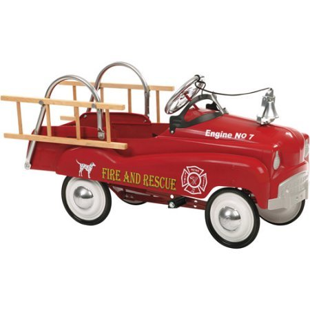 Authentic Detailing, Nostalgic Antique Fire Truck Pedal Car, Red