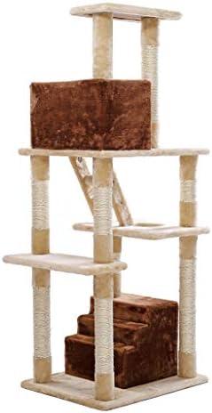 キャットツリータワー、キャットアクティビティセンター多層キャットツリー、キャットクライミングフレーム、キャットアパートメント家具、キャットラダーペットハウスゲームハウス (Color : Brown+beige)