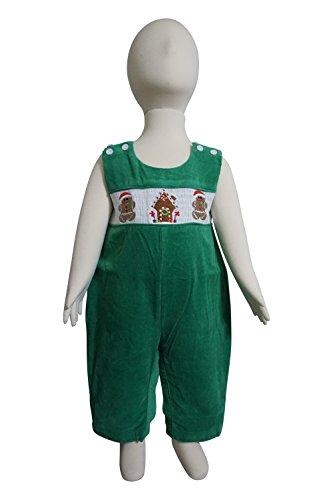 Dana Kids Little Boys Christmas Santa Reindeer Sleigh Red Corduroy Longall 6M to 5T (12 Months, Green - Gingerbread Man)
