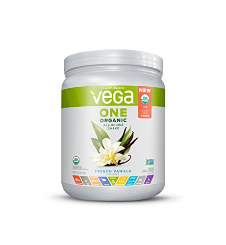 Vega One Organic All-In-One Shake, French Vanilla (9 servings, 12.2 Ounce) – Plant Based Vegan Protein Powder with Vitamins, Minerals, Antioxidants, No Dairy, No Gluten, Non GMO