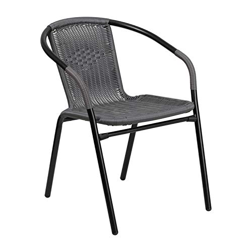 Flash Furniture 4 Pk. Gray Rattan Indoor-Outdoor Restaurant Stack Chair, 4-TLH-037-GY-GG (Restaurant Outdoor Chairs)