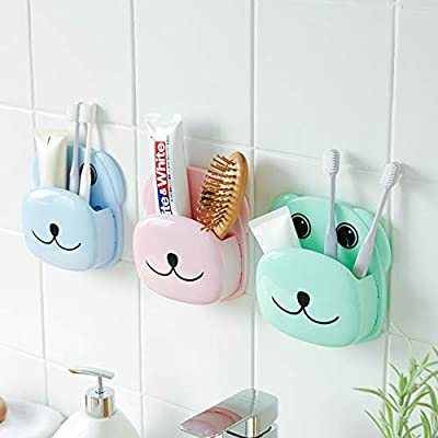 Narutosak Cute Cartoon Dog Bathroom Toothbrush Holder Suction Cup Toothpaste Storage Rack Box Storage Case Cover Portable Dust-Proof Anti Bacterial, for Daily Travel Camping School Use