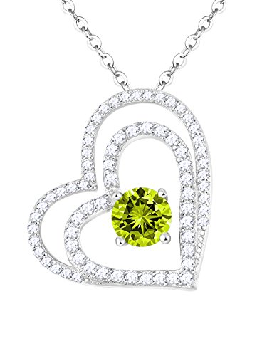 Heart Cut Peridot Pendant - You Are the Only One in My Heart Jewelry Gifts for Women Green Peridot Double Love Hearts Pendant Necklace Birthday Gifts for Wife for Girlfriend for Her Sterling Silver Swarovski 18