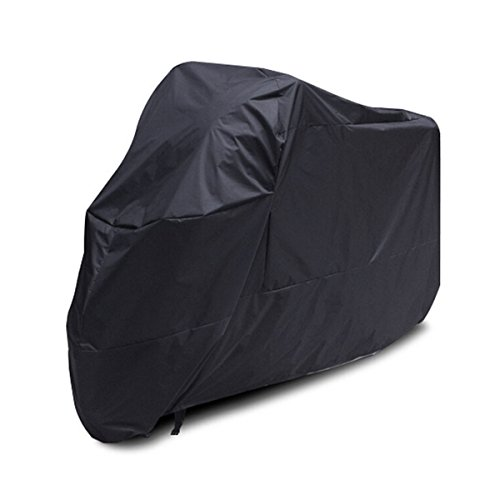 Universal Outdoor Motorcycle Motorbike ATV Scooter Dustproof Waterproof Sun Block Protective Cover Rain Cover Protector 265cm Long - Size XXL (Black)