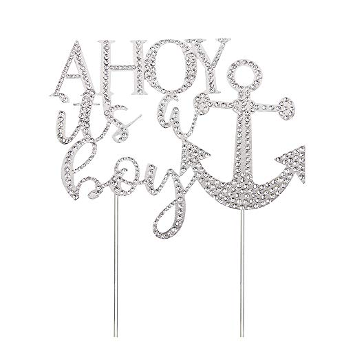 WeBenison AHOY It's a Boy Cake Topper Nautical Themed Anchor Baby Shower ,1st Birthday Gender Reveal Cake Topper Silver Metal with Crystal Rhinestone Party -