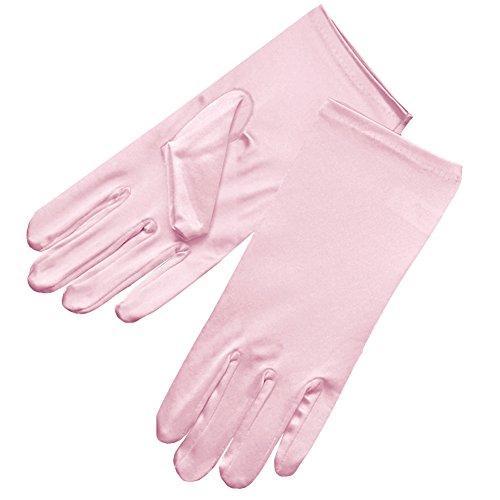 ZaZa Bridal Shiny Stretch Satin Dress Gloves Wrist Length 2BL-Pink (Gloves Length Bridal Wrist)