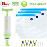 Sous Vide Bags Kit for Anova Cookers 10 Reusable Food Vacuum Sealed Bags, 1 Hand Pump, 3 Bag Sealing Clips and 4 Sous Vide Clips