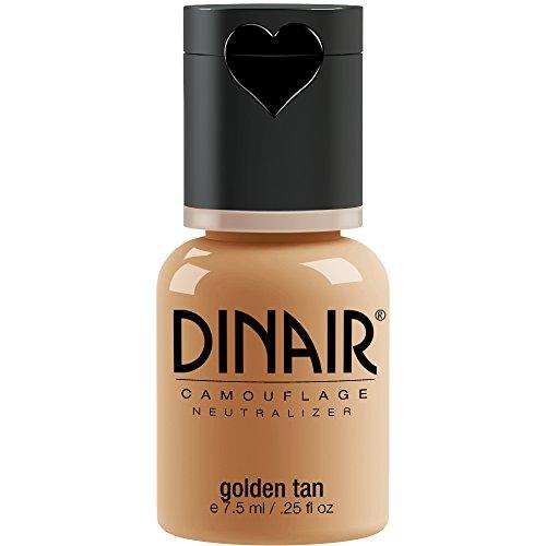Dinair Airbrush Makeup Foundation | Golden Tan 0.25 oz | Camouflage Neutralizer - Covers Scars, Acne, Tattoos, Vitiligo, Under Eye circles, Sun Spots