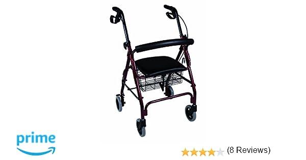 Herdegen - Andador rollator caminador con asiento y 4 ruedas; hecho de aluminio y con frenos, con cesta para transportar objetos o hacer la compra, ...