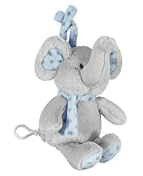 "Stephan Baby 9.5"" Plush Musical Elephant Crib Toy, Grey & Blue"