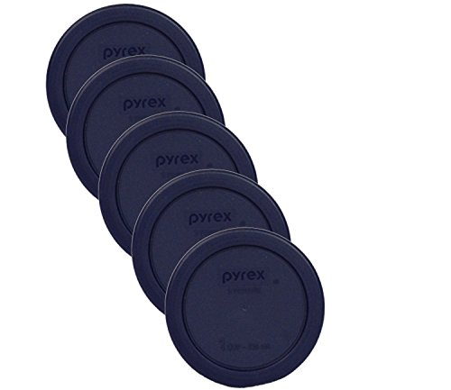 Pyrex Blue 1 Cup Round Plastic Cover #7202-PC- 5 Pack