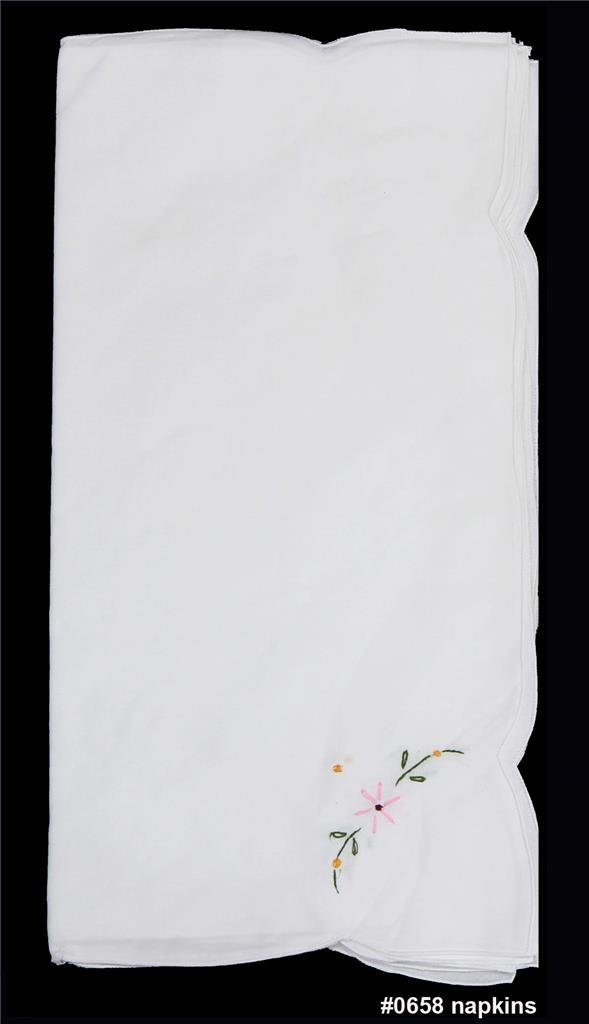 Creative Linens 8PCS Embroidered Napkins White, 100% Cotton, Set of 8 Pieces