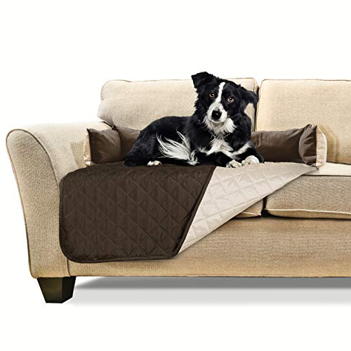 Furhaven Pet Furniture Cover | Sofa Buddy Two-Tone Reversible Water-Resistant Living Room Furniture Cover Protector Pet Bed for Dogs & Cats, Espresso/Clay, Medium
