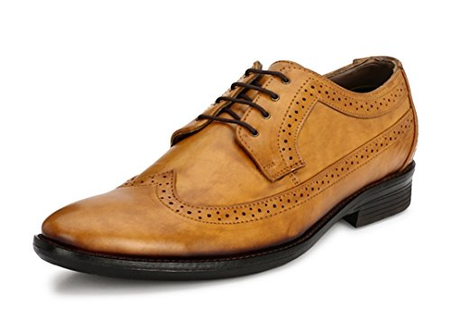 - Genuine Patent Leather Shoes Mens Dress Shoes Oxford Shoes Men Perforated Classic Brogue Wing-Tip Lace Up(Tan,7)