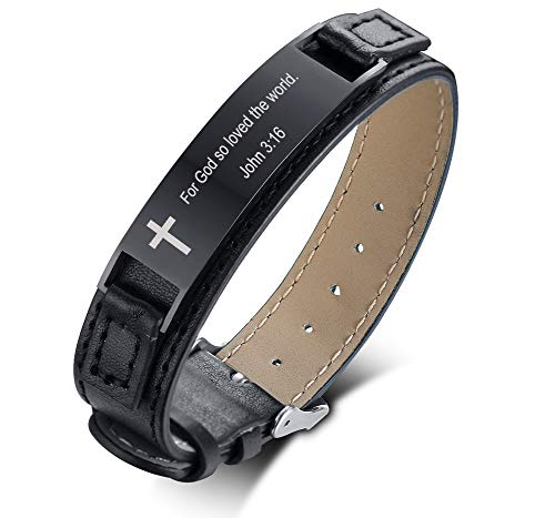 Mealguet Jewlery Engraved with John 3:16 for God so Loved The World Bible Verse Inspirational Leather Bracelet for Gift,Black (For The Lord So Loved The World)