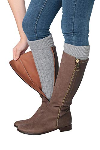 Isadora Paccini Women's Ribbed Knit Leg Warmers, One Size, LW15, grey