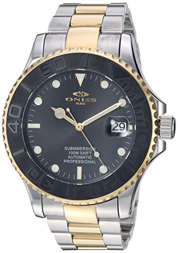 Adee Kaye Men's Japanese Automatic Stainless Steel Watch, Color:Two Tone (Model: ON7772-MTTG/BK)