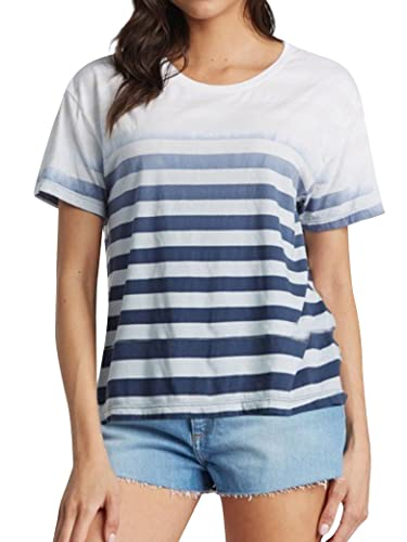 PLNCAYFZ Women Crew Neck Short Sleeve Dip-Dye Horizontal Stripes Casual T-Shirt Tops Blue