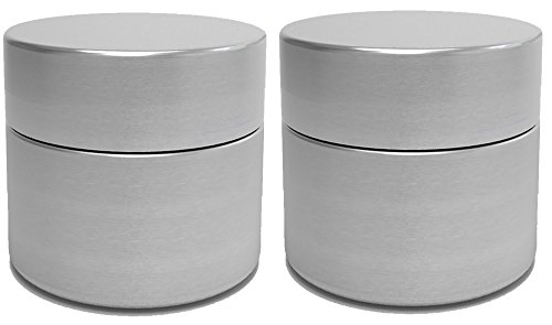 Aluminum Jars - Herb Stash Jars | 2 Solid Aluminum Airtight Smell Proof Containers #1 Best Way To Preserve Spices & Herbs