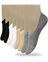 Women's 3 to 8 Pack Thin Casual No Show Socks Non Slip...