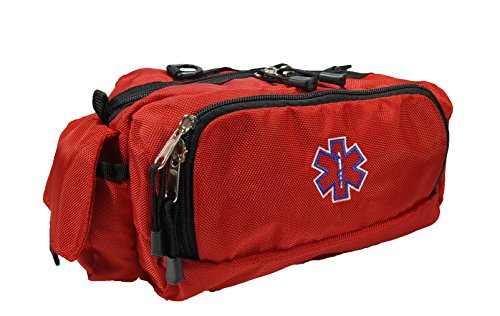 LINE2design Deluxe First Aid Fanny Pack Large EMS, EMT, Paramedic Fanny Pack, With Multipal Internal Pockets Bag - Red