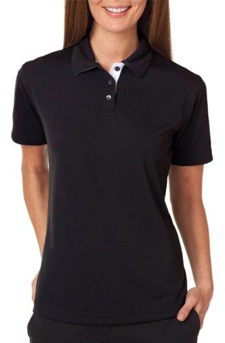 (Ultraclub Ladies Platinum Performance Birdseye Polo with TC Tech 8325L -Black S )