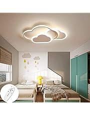 Eastinghouse LED-taklampa för barnrum, barnkammare, sovrum och vardagsrum, dekorationsbelysning i form av kreativt moln, taklampa med fjärrkontroll, dimbar, 6 cm ultratunn vit och rosa taklampa