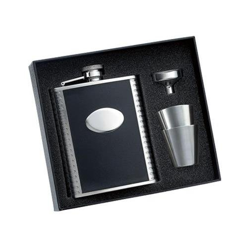 3 Pcs Set - 6 Oz Flask Bonded Black Leather Wrap w/ Pattern On Both Side & Oval Convex w/ Funnel & 2 Brushed Stainless Steel Cup In Black Gift Box & Gift Box Perfect Gift For Him / Her ()