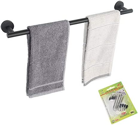TocTen Bath Towel Bar – Thicken SUS304 Stainless Steel Towel Rack for Bathroom with 4 S Hooks, Bathroom Accessories Towel Rod Heavy Duty Wall Mounted Towel Holder (24IN, Black)