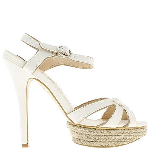 Fine bianco sandali aperti tacco 14cm e 3cm di piattaforma