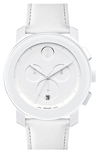 (Movado Bold 3600011 Swiss White Leather Strap Silver Chronograph Dial Unisex Watch )