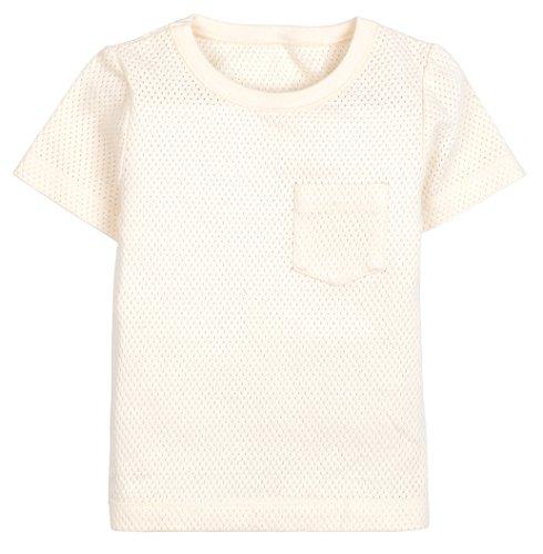 Organic Cotton Unisex Baby Short Sleeve Tee Shirt Top, All Natural Dye-Free, Beige 24M