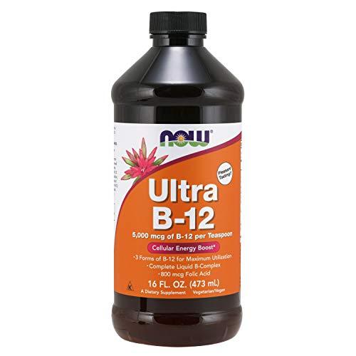 NOW Supplements, Ultra B-12, Liquid, 800 mcg Folic Acid, Cellular Energy Production*, 16-Ounce