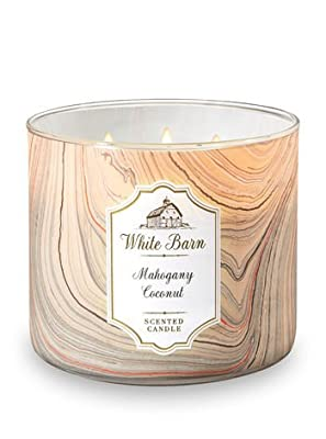 Bath and Body Works White Barn Mahogany Coconut 3 Wick Scented Candle 14.5 Ounce