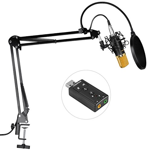 Aokeo AK-70 Professional Studio Broadcasting Recording Condenser Microphone & AK-35 Adjustable Recording Microphone Suspension Scissor Arm Stand with Shock Mount and Mounting Clamp Kit