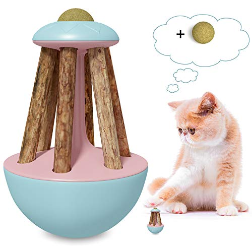Bihuo Cat Tumbler Toy, Interactive Teaser Toys with Catnip Ball and Silvervine Stick Kitty Chew Toothbrush Molar Tools for Kitten Teeth Cleaning Dental Care with Catmint (Blue)