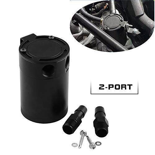 Sporacingrts Compact Baffled 2 Port Oil Catch Can Tank Universal Aluminum Air Oil Separator Black (Baffle Oil)
