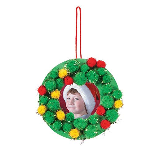 Christmas Wreath Ornament Picture Frame Craft kit-Pom-Pom-Makes 12 ()