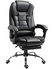 HOMCOM Ergonomic Executive Office Chair High Back PU Leather Reclining Chair with Retractable Footrest Lumbar Support Padded Headrest Armrest Dark Black