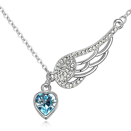 Pink or Blue Angel Heart Wing Pendant Necklace for Women Made With Swarovski Crystals - BOX, CARD, ENVELOPE INCLUDED FOR EASY GIFTING (Aquamarine - Gifts Last Christmas Best Minute