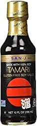 San-J Tamari Gluten Free Soy Sauce,  Black Bottle, 10 Ounce