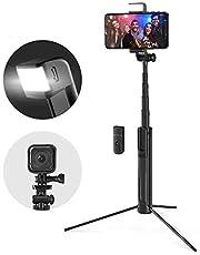 Selfie Stick Extendable Bluetooth Tripod Selfie Stick with LED Fill Light for Phone Sport Camera Shutter Compatible car Mount LRPXB (Color : Black, Size : 82CM)
