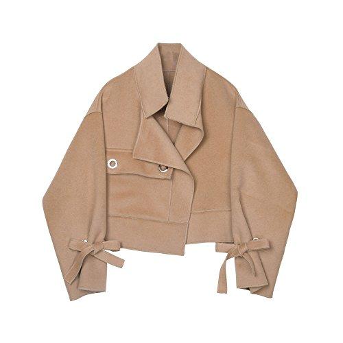 corta correa Pajarita Caqui chaqueta caras de de dos femeninas cachemir invierno UPx5wCxqE